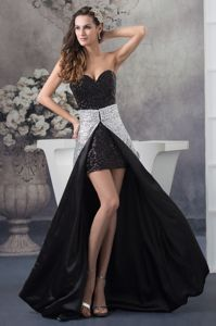 Sequined Sweetheart Black and White Homecoming Dresses with Watteau Train