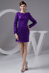 Bateau Long Sleeves Eggplant Purple Sparkly Homecoming Dresses in Sequins in Irvine