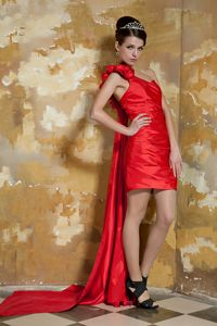 One Shoulder Watteau Train Red Homecoming Dress with Hand Made Flowers from Golden