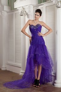 Purple Mermaid Sweetheart High-low Tight Homecoming Dresses Tulle in Beading in Storrs