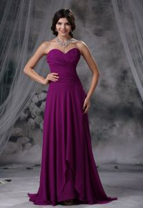 Ruches Decorate Bodice Purple Chiffon Short Homecoming Dresses in Sweetheart in Irvine