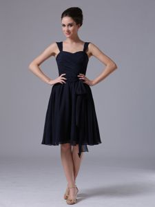 A-Line Navy Blue Straps Chiffon Knee-length Homecoming Dress with Ruches from Golden