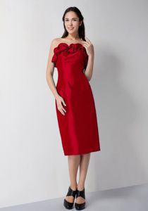 Strapless Tea-length Red Column Party Dress for Homecoming in Taffeta from Stamford