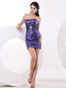 Mini-length Sequin Over Skirt Designer Homecoming Dresses with Purple from Largo