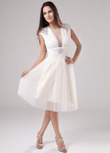 A-Line Scoop Tea-length Tulle Vintage Homecoming Dresses with Beading from Sanford