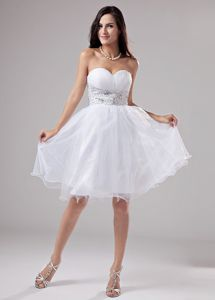 Beaded Decorate Waist Knee-length Organza Homecoming Dress in Sweetheart in Largo