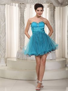 Teal A-line Sweetheart Mini-length Tulle Tight Homecoming Dresses in Beading in Imperia