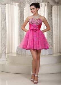 Sweetheart Taffeta and Organza Homecoming Dress with Hand Made Flower in Chillicothe