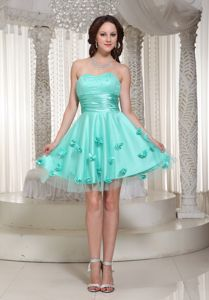 New Turquoise Vintage Homecoming Dresses with Flowers Decorate from Farmington