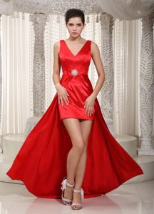 High-low Elastic Wove Satin Column Beaded Evening Homecoming Dress in Red in Trenton