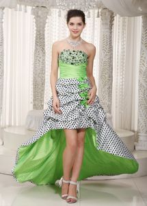 Spring Green A-line Strapless High-low Taffeta Homecoming Dresses in Beading in Rolla