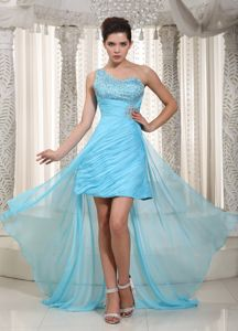 One Shoulder High-low Aqua Blue Celebrity Homecoming Dress in Taffeta and Chiffon in Flint