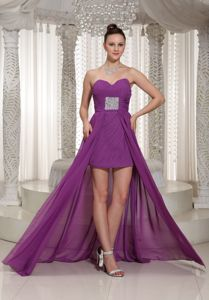 Ruched Bodice High-low Sweetheart Chiffon Homecoming Dress with Beading in Chillicothe