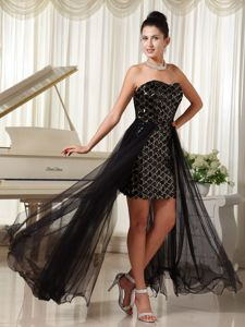 High-low Custom Made Column Tulle Black Homecoming Dresses with Special Fabric in Butler