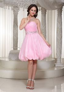 Beaded Decorate A-line Baby Pink Cute Homecoming Dresses with Homecoming in Lamar