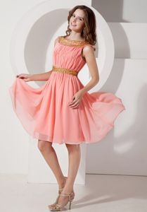 Watermelon Bateau Knee-length Chiffon Short Homecoming Dresses in Beading in Chillicothe