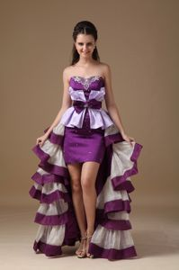Multi-Color Sweetheart Satin High-low Cute Homecoming Dresses Beading from Imperia
