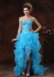 High-low Aqua Blue Homecoming Dresses with Beaded Bodice and Ruffles in Detroit