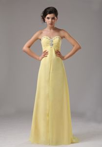 Yellow Custom Made Sweetheart Chiffon Homecoming Dress with Beaded in Eureka