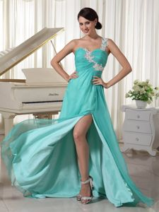 One Shoulder Appliqued Turquoise Homecoming Dress with High Slit