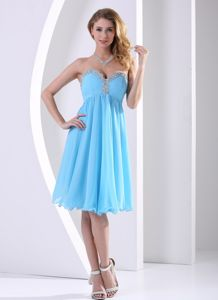 Chiffon Sweetheart Beaded Junior Homecoming Dresses in Aqua Blue
