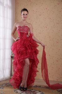 Red Sweetheart High-low Homecoming Queen Dresses with Beading