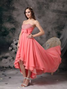 Watermelon Red High-low Homecoming Dress with Beading and Bows