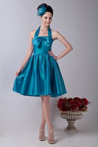 Teal Halter Knee-length Homecoming Dress with Bowknot in Pasadena