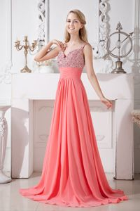 Beaded Watermelon Red Homecoming Gowns with Brush Train in Pacifica
