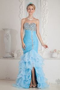 Beaded Sky Blue Mermaid High-low Homecoming Dress with Ruffles