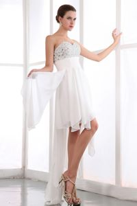 White Sweetheart Chiffon Junior Homecoming Dresses with Beading