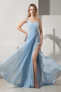 One Shoulder Brush Train Light Blue Homecoming Dress with Beading