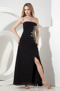 Black Strapless Chiffon Homecoming Dresses with Appliques in Escondido