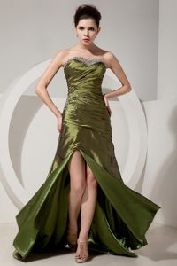 Sweetheart Beaded Ruched Brush Train Homecoming Dress in Olive Green