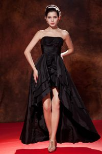 Black High-low Strapless Taffeta Homecoming Dress with Sequins in Kent