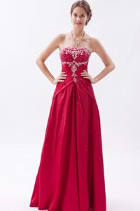 Wine Red Embroidered Homecoming Court Dresses with Beading in Reston