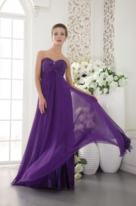 Purple Sweetheart Chiffon Homecoming Dresses with Beading in Norfolk