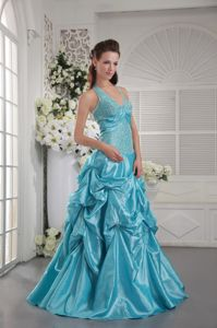 Halter Taffeta Appliqued Homecoming Dresses in Aqua Blue in Herndon