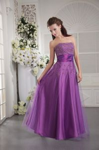Purple Strapless Party Dress For Homecoming with Beading in Fairfax