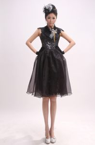 High Neck Black Homecoming Queen Dresses with Cap Sleeves and Sequins