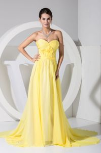 Sweetheart Vintage Homecoming Dresses in Yellow with Watteau Train