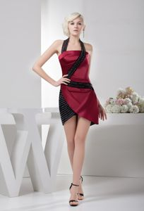 Wine Red and Black Homecoming Queen Dresses with Beading in Taffeta