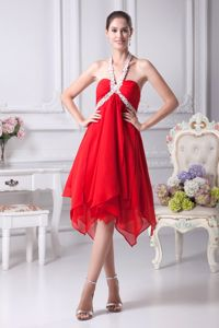 Appliqued Halter Ruffled Homecoming Queen Dresses with Beading
