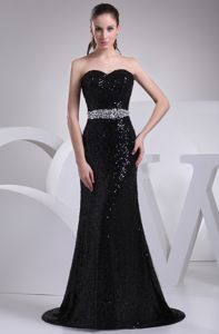 Black Sequined Sweetheart Beaded Homecoming Dress with Brush Train