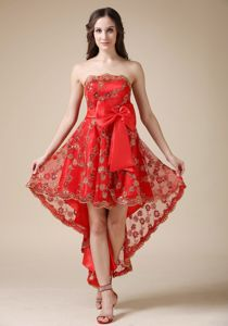 Luxurious Red Strapless High-low Party Dress For Homecoming in Plano
