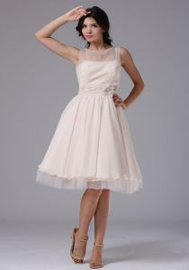 Bateau Tulle Knee-length Homecoming Dresses with Hand Made Flowers