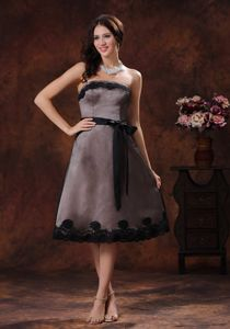 Tea-length Strapless Homecoming Court Dress in Black with Sash in Midland