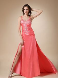 Beaded Watermelon Red Homecoming Court Dresses with Brush Train