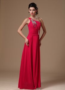 One Shoulder Beaded Customize Homecoming Dress in Coral Red in Dallas