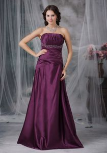 Dark Purple Sweetheart Beaded Homecoming Dress with Brush Train